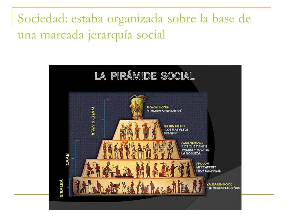 Sociedad: estaba organizada sobre la base de una marcada jerarquía social