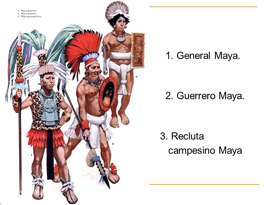 1. General Maya. 2. Guerrero Maya. 3. Recluta campesino Maya