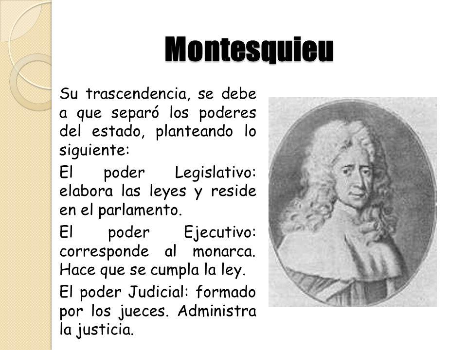 Montesquieu Su trascendencia, se debe a que separó los poderes del estado, planteando lo siguiente: