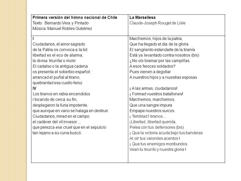 Primera versión del himno nacional de Chile Texto: Bernardo Vera y Pintado Música: Manuel Robles Gutiérrez