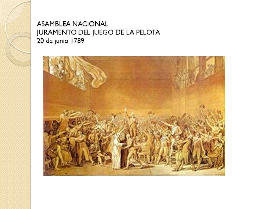 ASAMBLEA NACIONAL JURAMENTO DEL JUEGO DE LA PELOTA 20 de junio 1789
