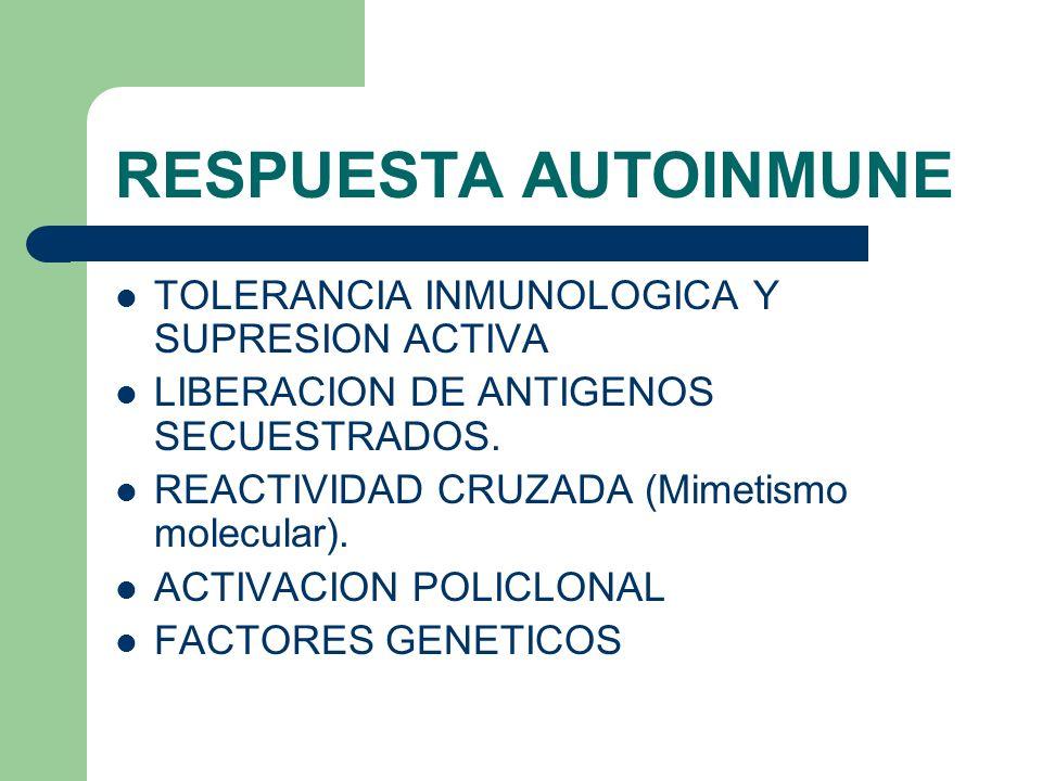 RESPUESTA AUTOINMUNE TOLERANCIA INMUNOLOGICA Y SUPRESION ACTIVA