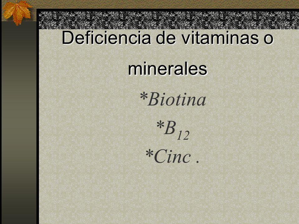 Deficiencia de vitaminas o minerales