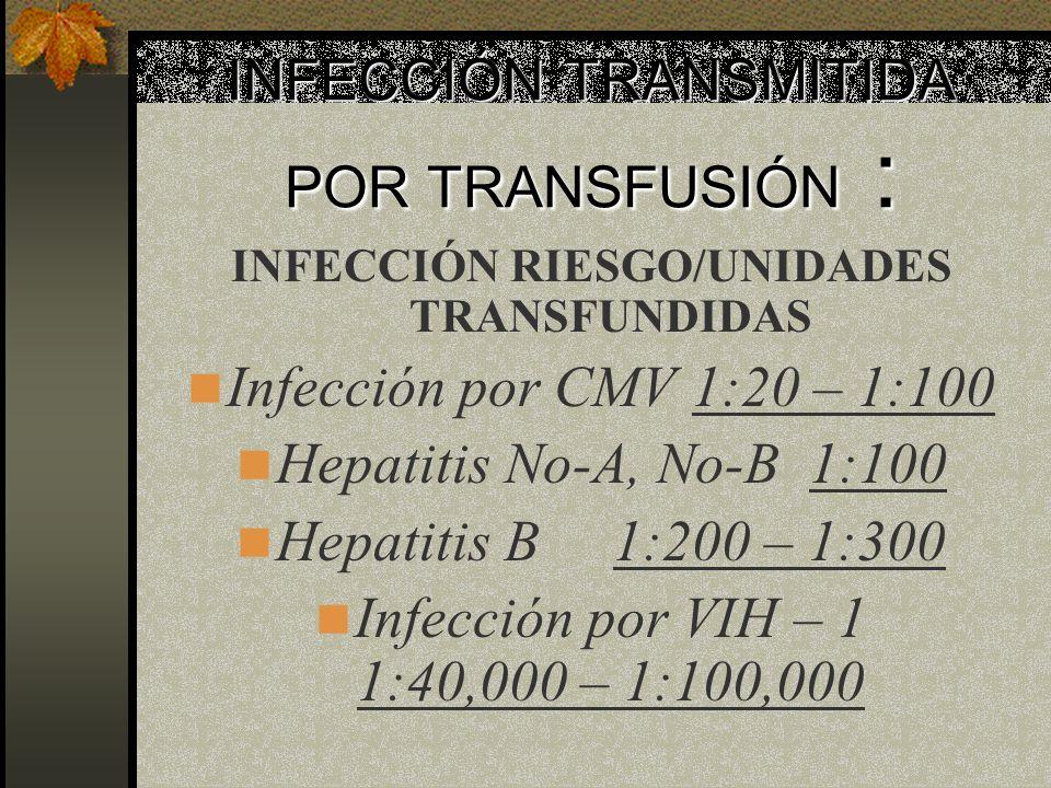 INFECCIÓN TRANSMITIDA POR TRANSFUSIÓN :