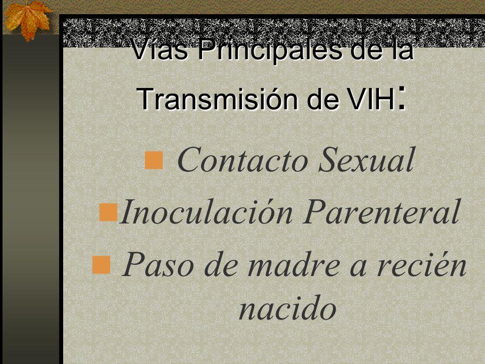 Vías Principales de la Transmisión de VIH: