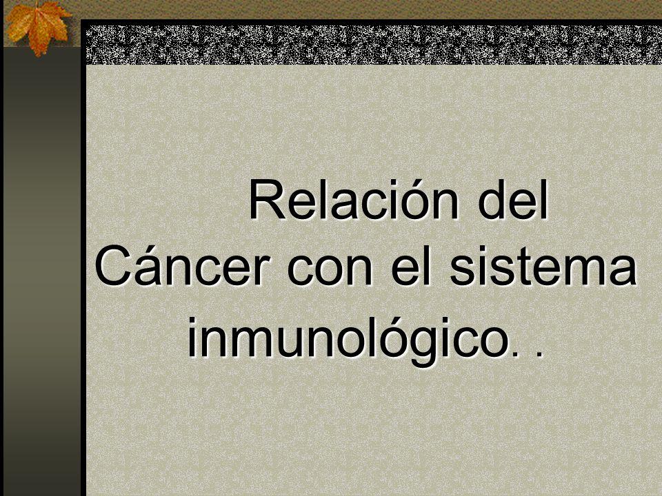 Relación del Cáncer con el sistema inmunológico. .