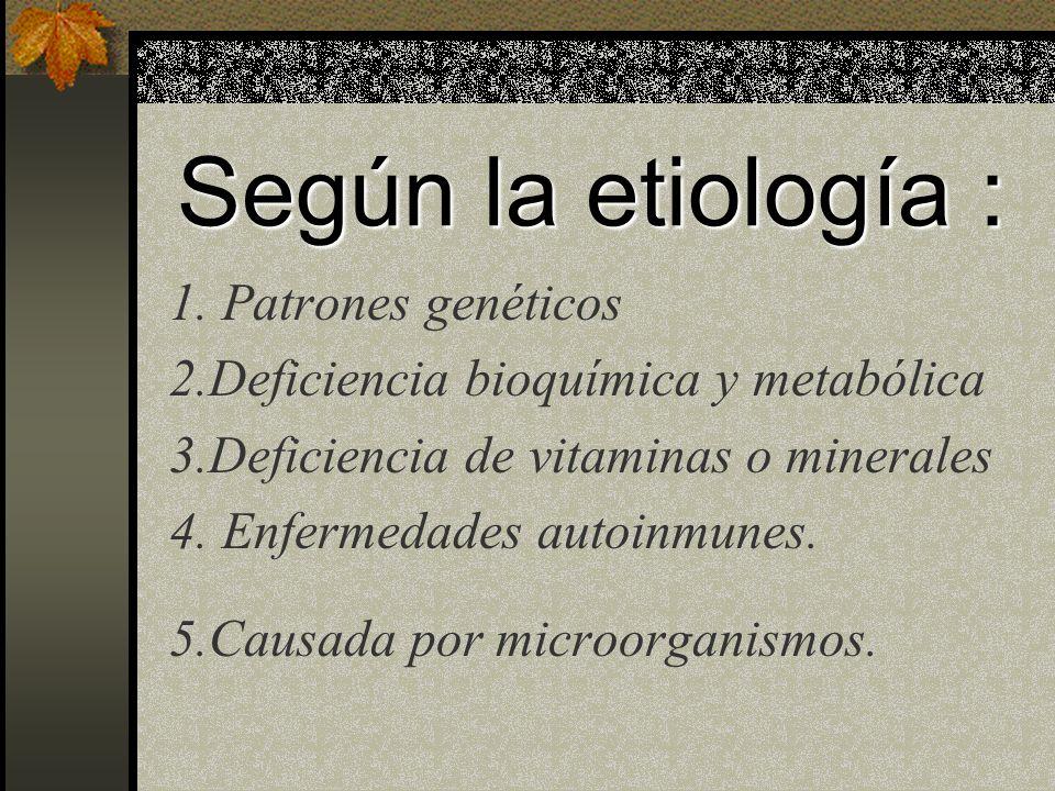 Según la etiología : 1. Patrones genéticos