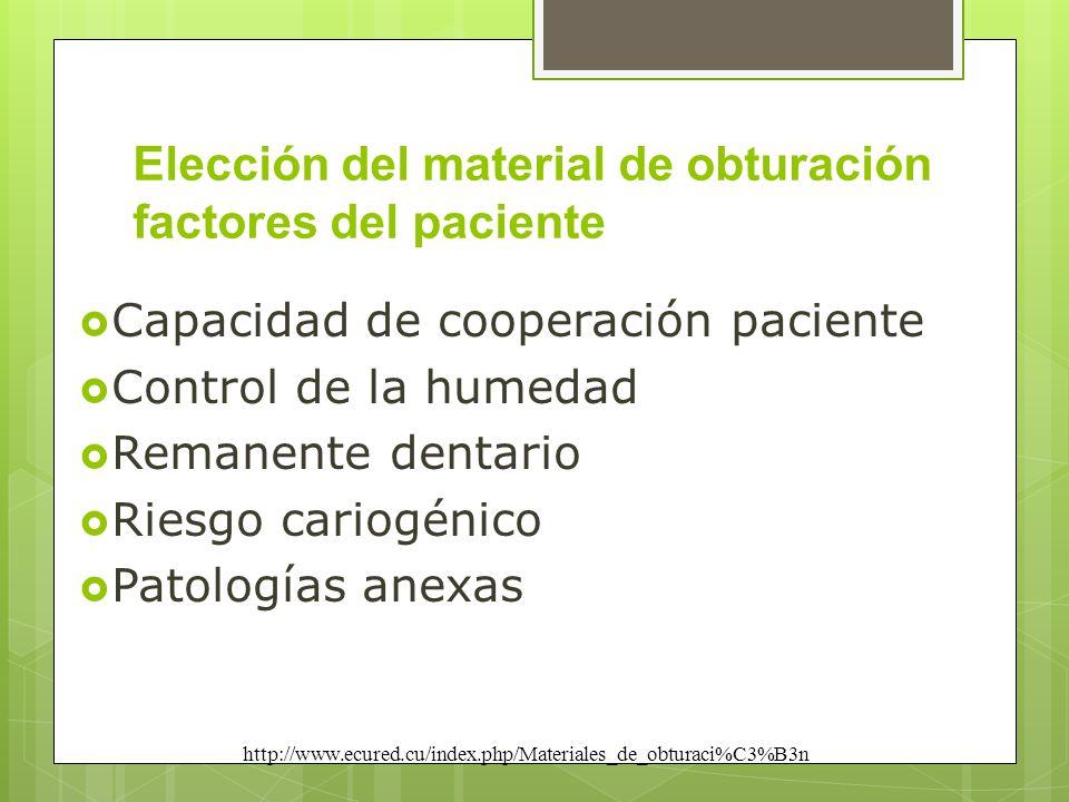 Elección del material de obturación factores del paciente