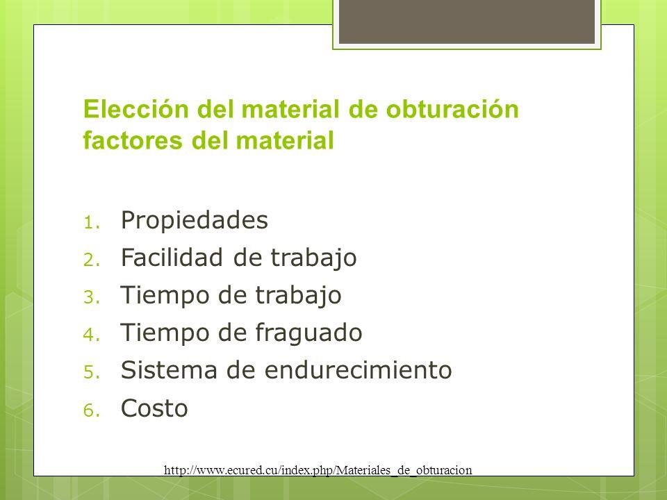 Elección del material de obturación factores del material