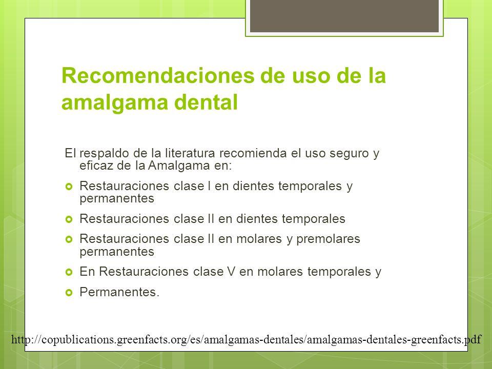 Recomendaciones de uso de la amalgama dental