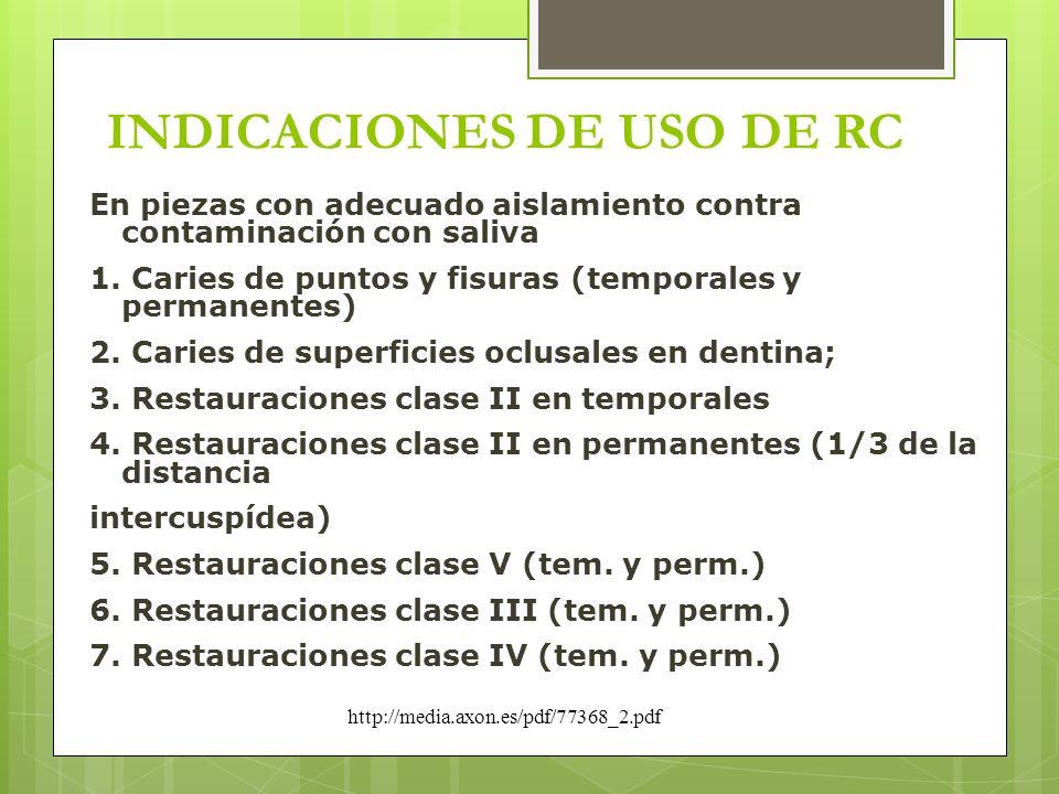 INDICACIONES DE USO DE RC