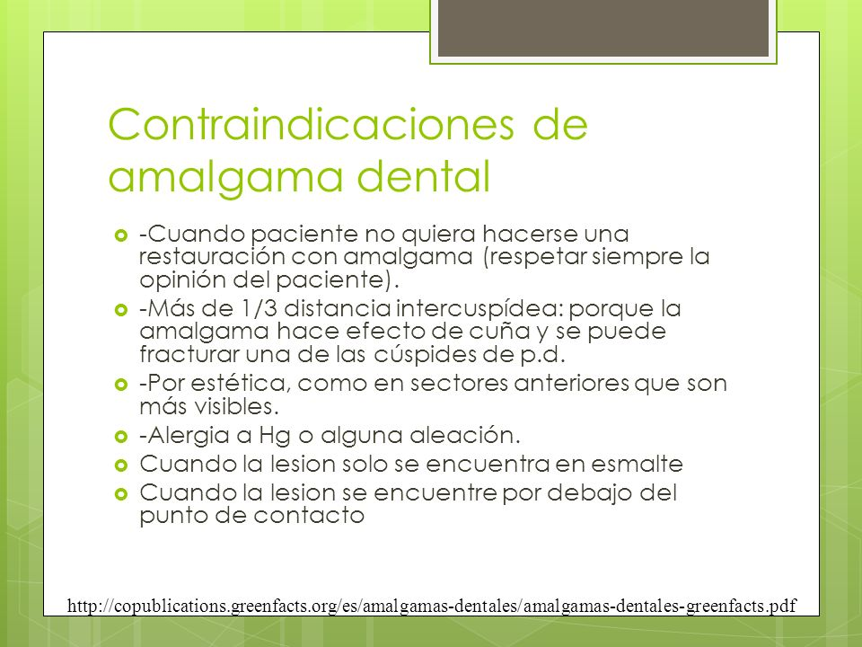 Contraindicaciones de amalgama dental