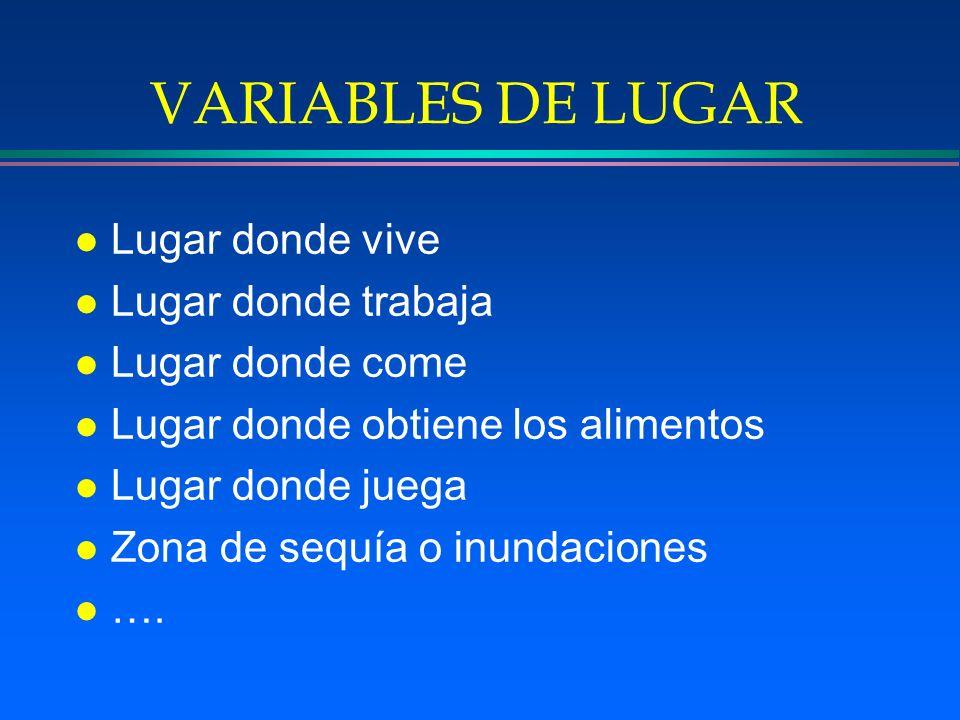 VARIABLES DE LUGAR Lugar donde vive Lugar donde trabaja