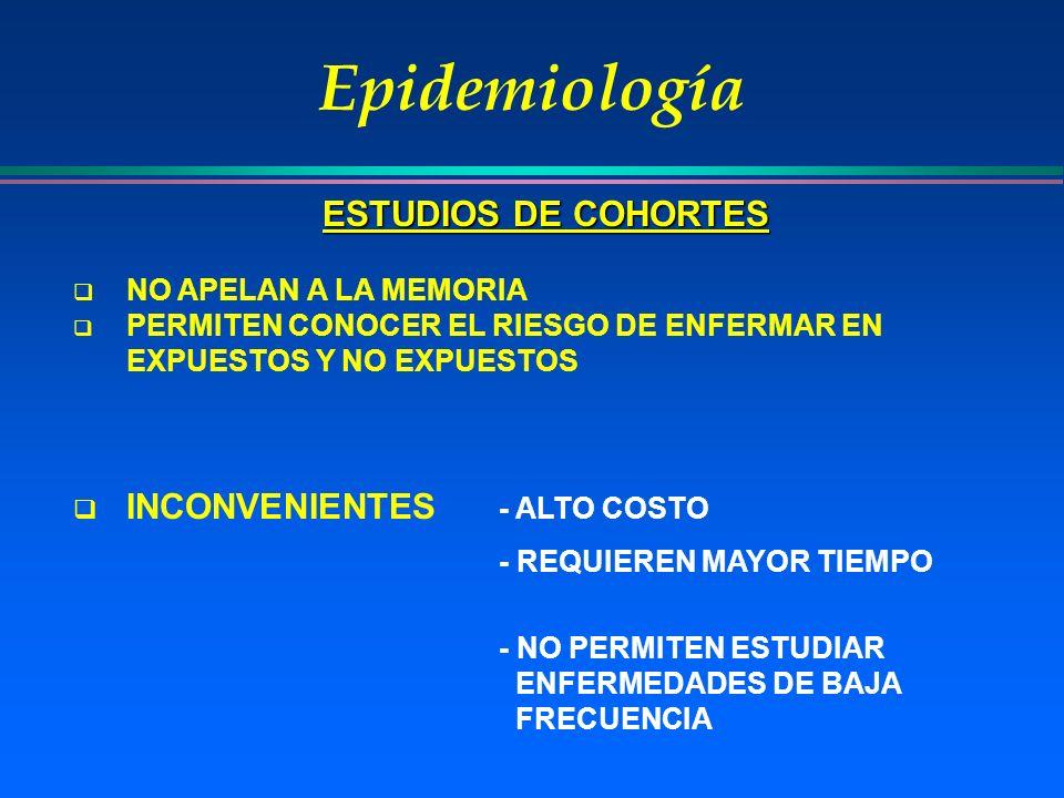 Epidemiología ESTUDIOS DE COHORTES INCONVENIENTES - ALTO COSTO