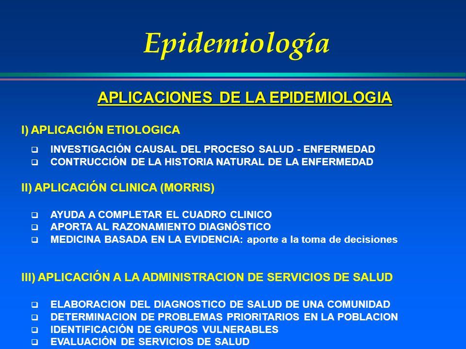 APLICACIONES DE LA EPIDEMIOLOGIA
