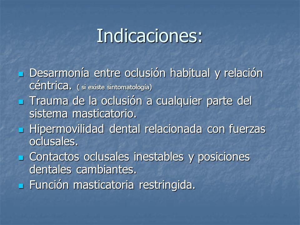 Indicaciones: Desarmonía entre oclusión habitual y relación céntrica. ( si existe sintomatología)