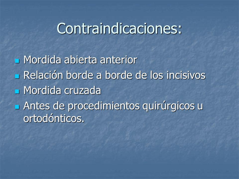 Contraindicaciones: Mordida abierta anterior