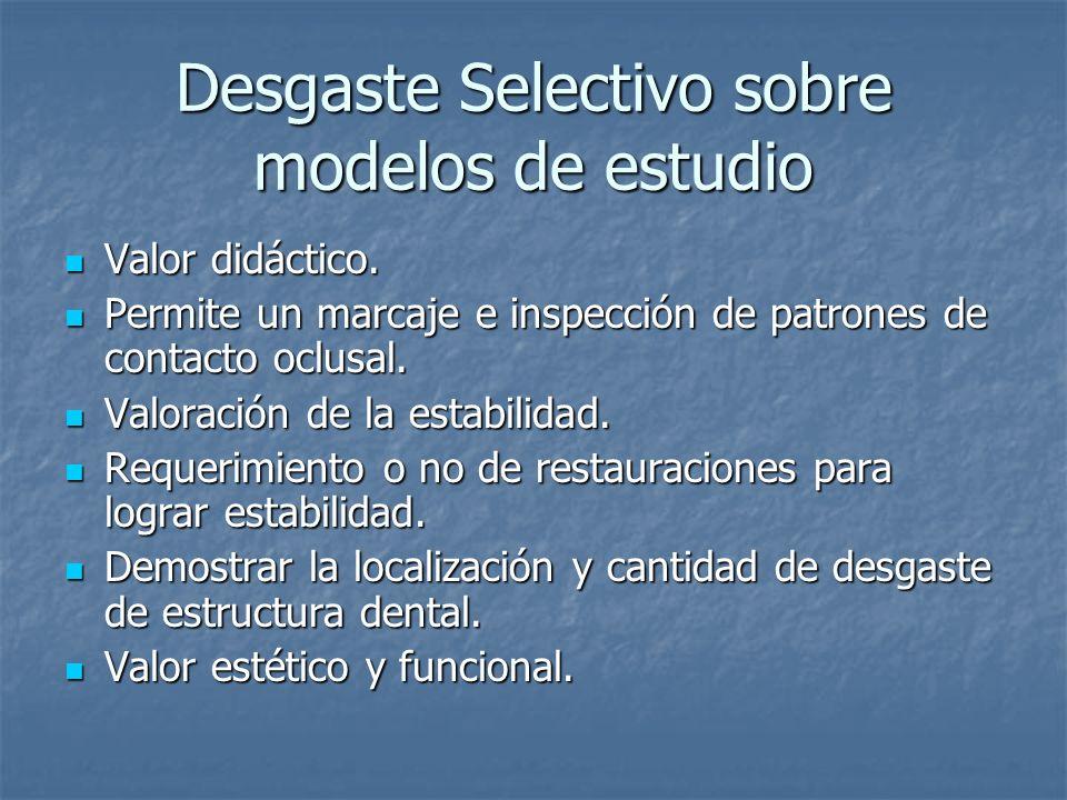 Desgaste Selectivo sobre modelos de estudio