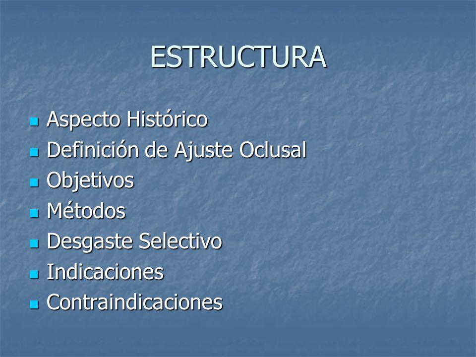 ESTRUCTURA Aspecto Histórico Definición de Ajuste Oclusal Objetivos