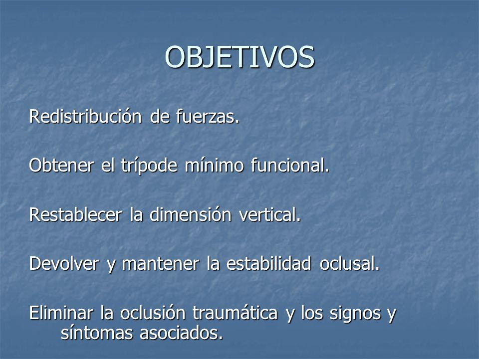 OBJETIVOS Redistribución de fuerzas.