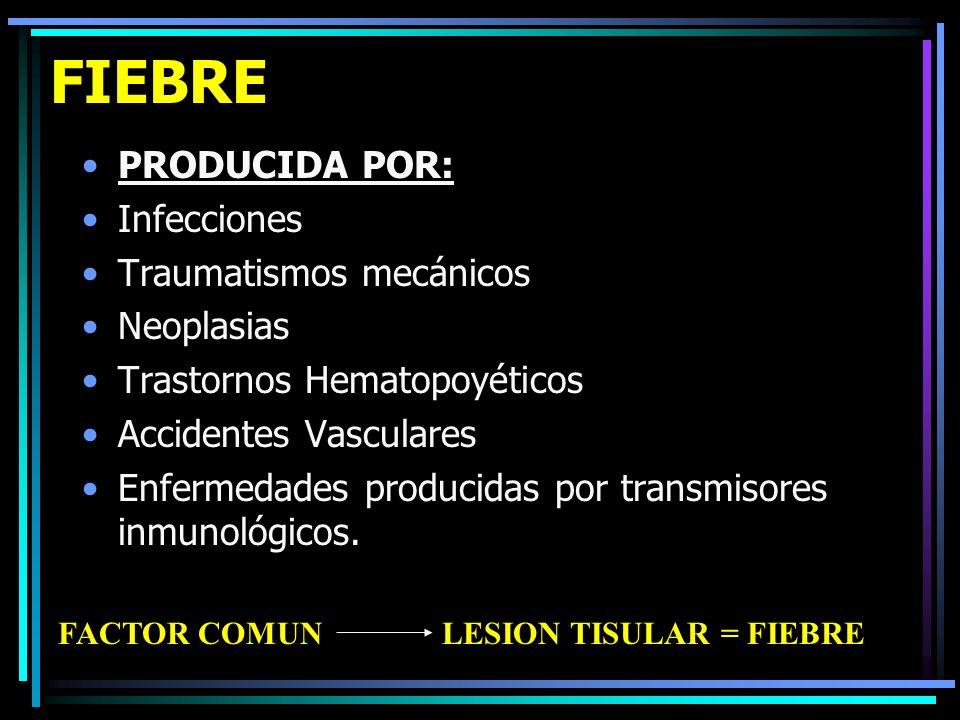FIEBRE PRODUCIDA POR: Infecciones Traumatismos mecánicos Neoplasias