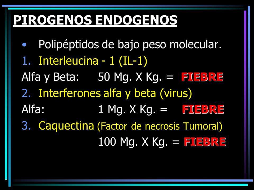 PIROGENOS ENDOGENOS Polipéptidos de bajo peso molecular.