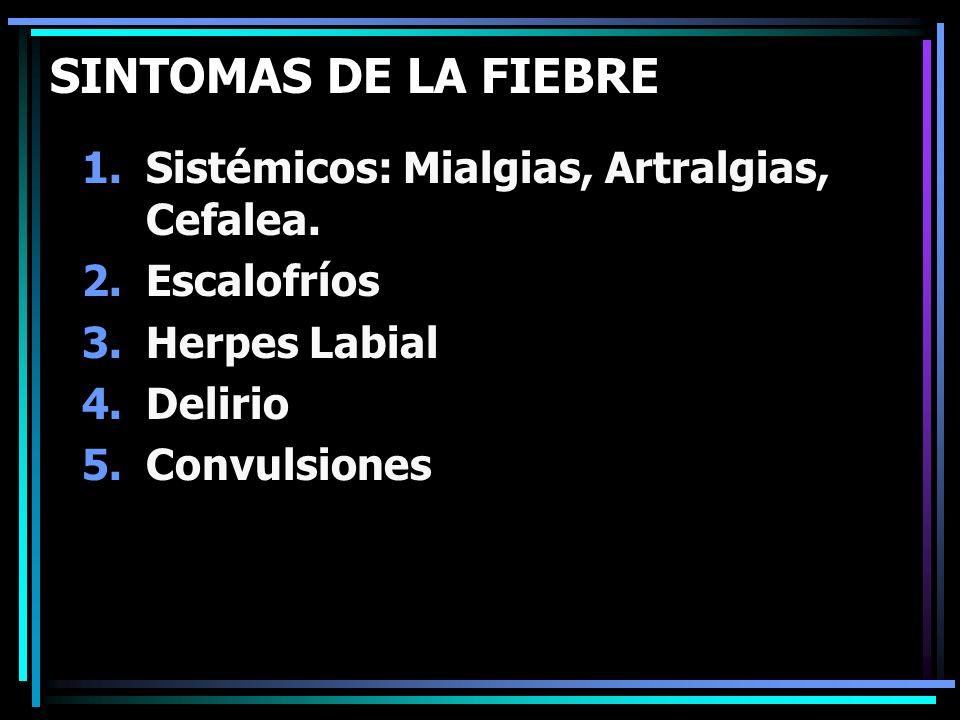 SINTOMAS DE LA FIEBRE Sistémicos: Mialgias, Artralgias, Cefalea.