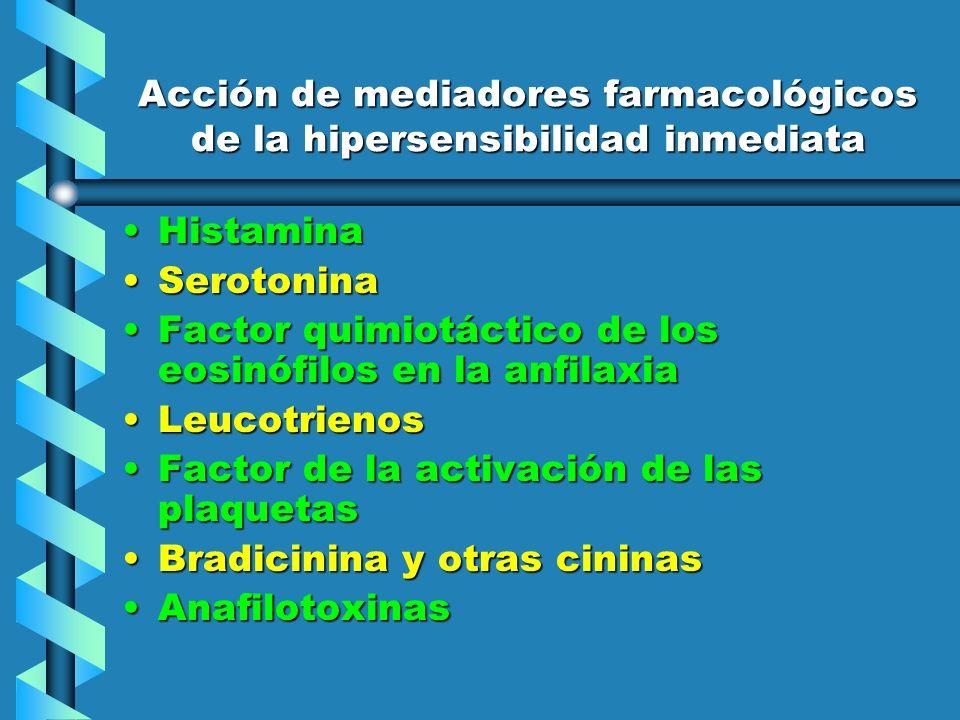 Acción de mediadores farmacológicos de la hipersensibilidad inmediata