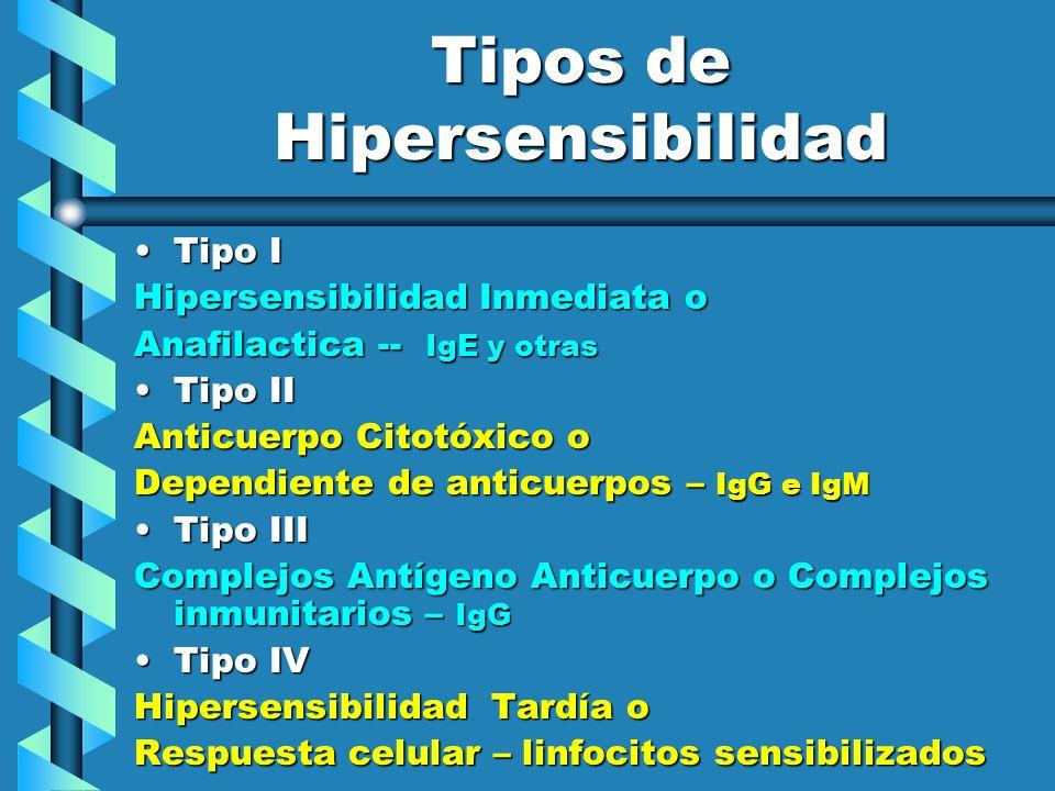 Tipos de Hipersensibilidad