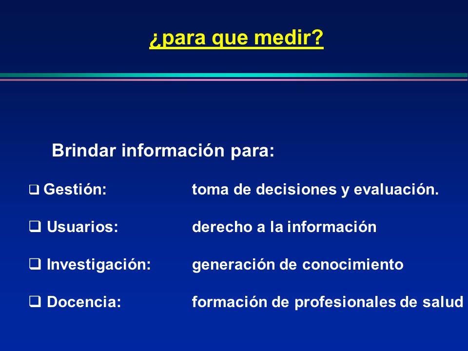 ¿para que medir Brindar información para:
