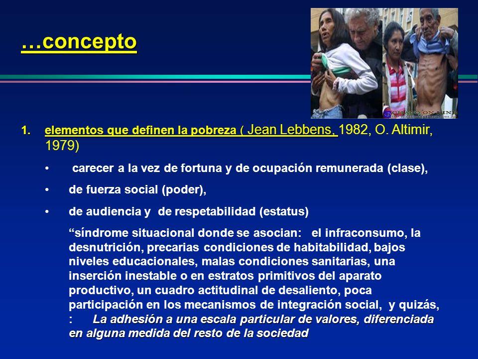 …conceptoelementos que definen la pobreza ( Jean Lebbens, 1982, O. Altimir, 1979) carecer a la vez de fortuna y de ocupación remunerada (clase),