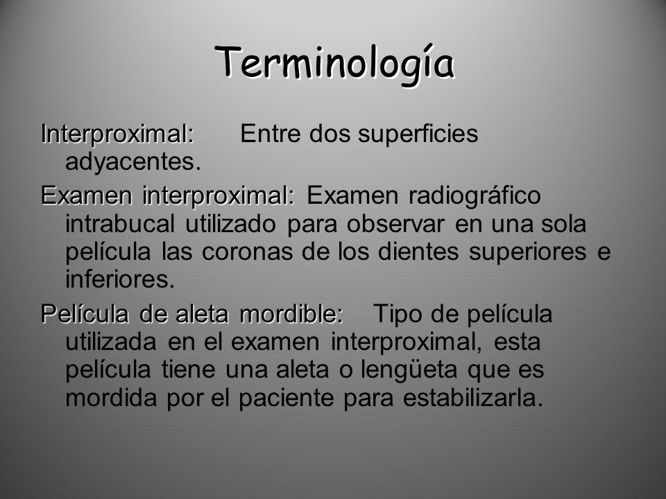 Terminología Interproximal: Entre dos superficies adyacentes.