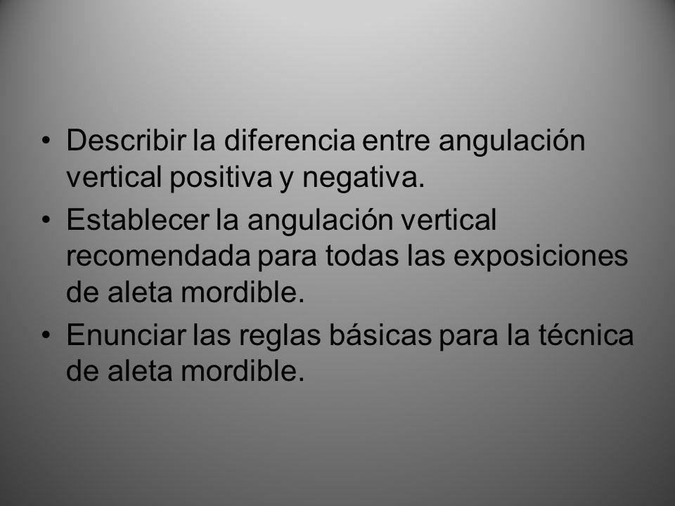 Describir la diferencia entre angulación vertical positiva y negativa.