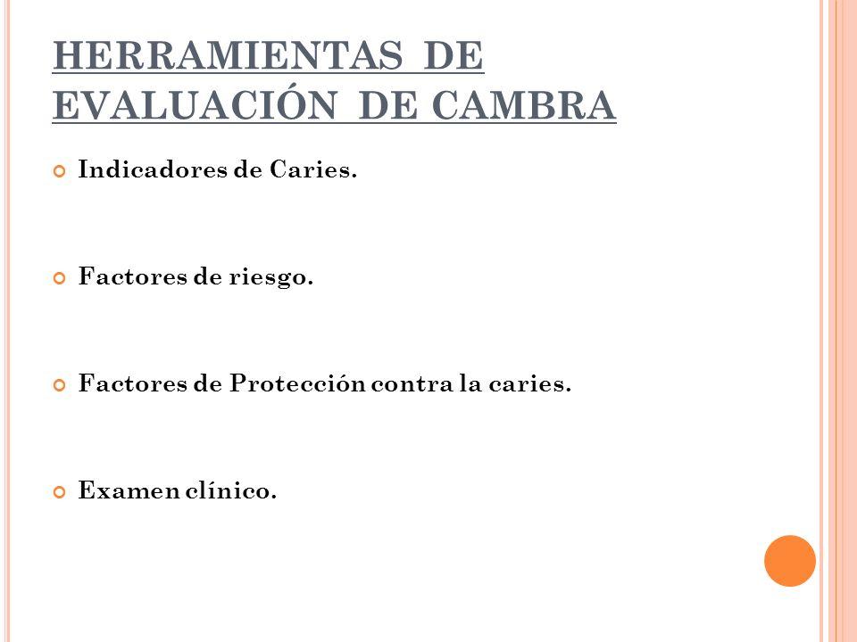 HERRAMIENTAS DE EVALUACIÓN DE CAMBRA