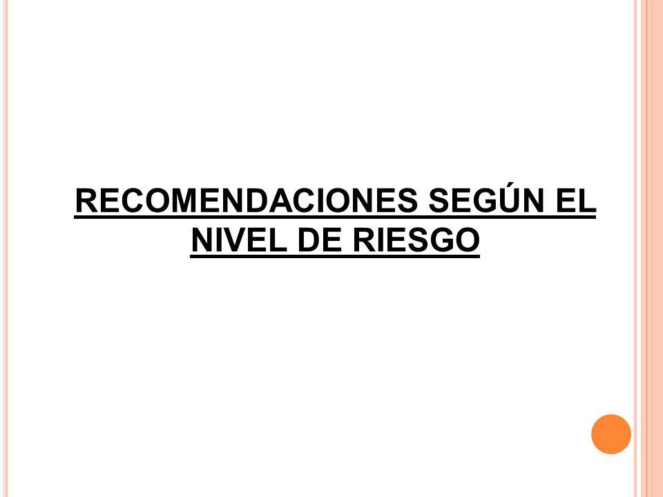 RECOMENDACIONES SEGÚN EL NIVEL DE RIESGO
