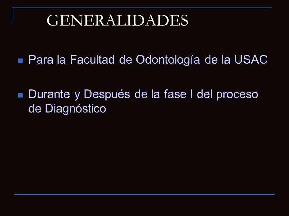 GENERALIDADES Para la Facultad de Odontología de la USAC