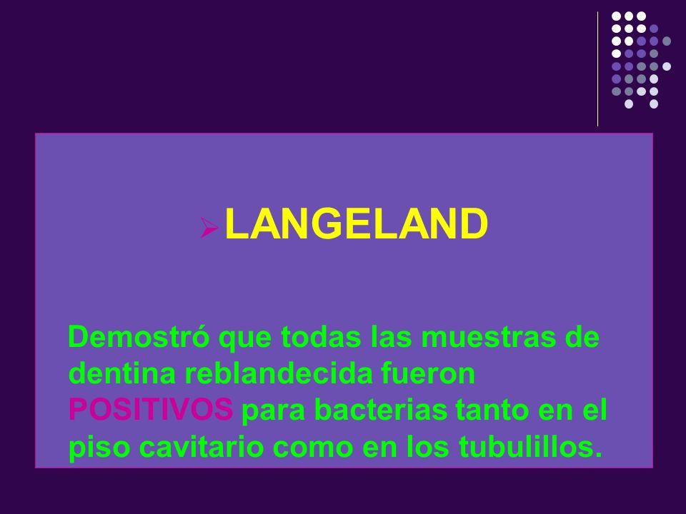 LANGELAND Demostró que todas las muestras de dentina reblandecida fueron POSITIVOS para bacterias tanto en el piso cavitario como en los tubulillos.