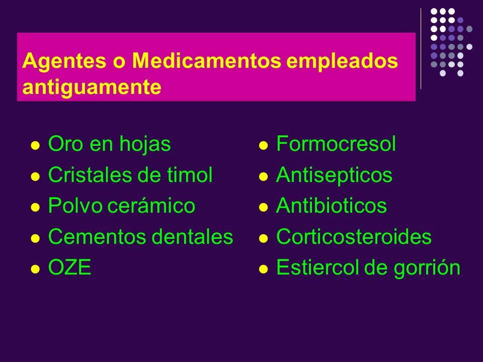 Agentes o Medicamentos empleados antiguamente