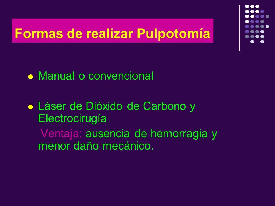Formas de realizar Pulpotomía