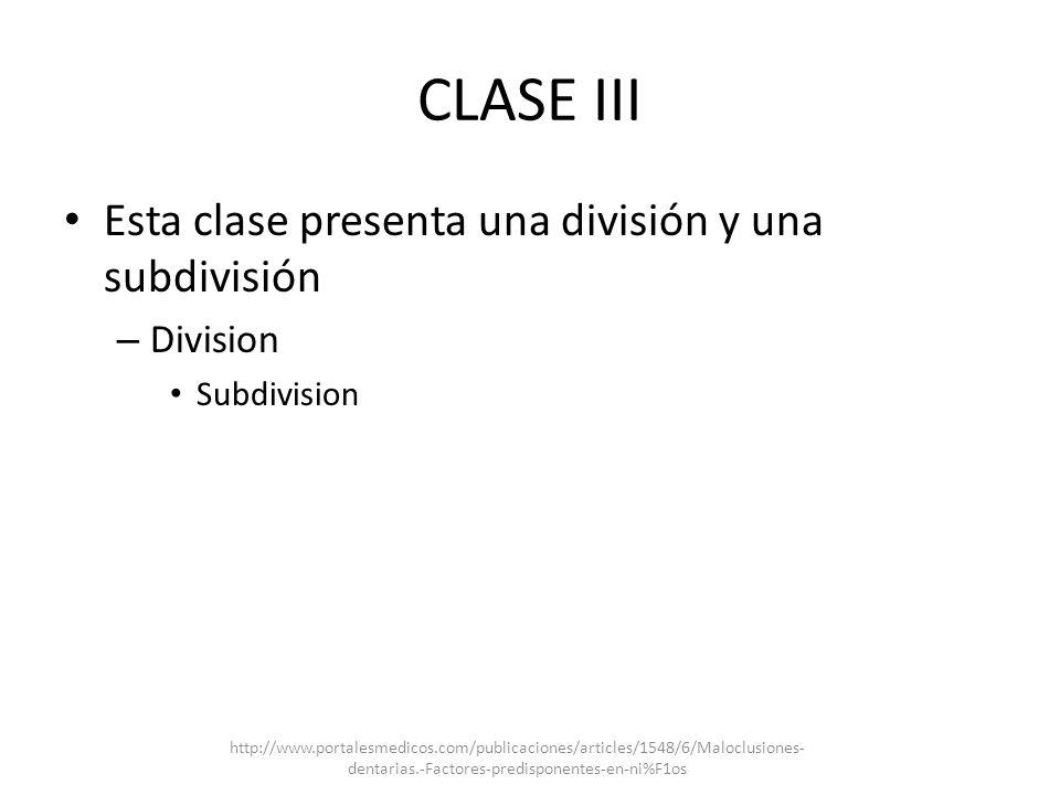 CLASE III Esta clase presenta una división y una subdivisión Division