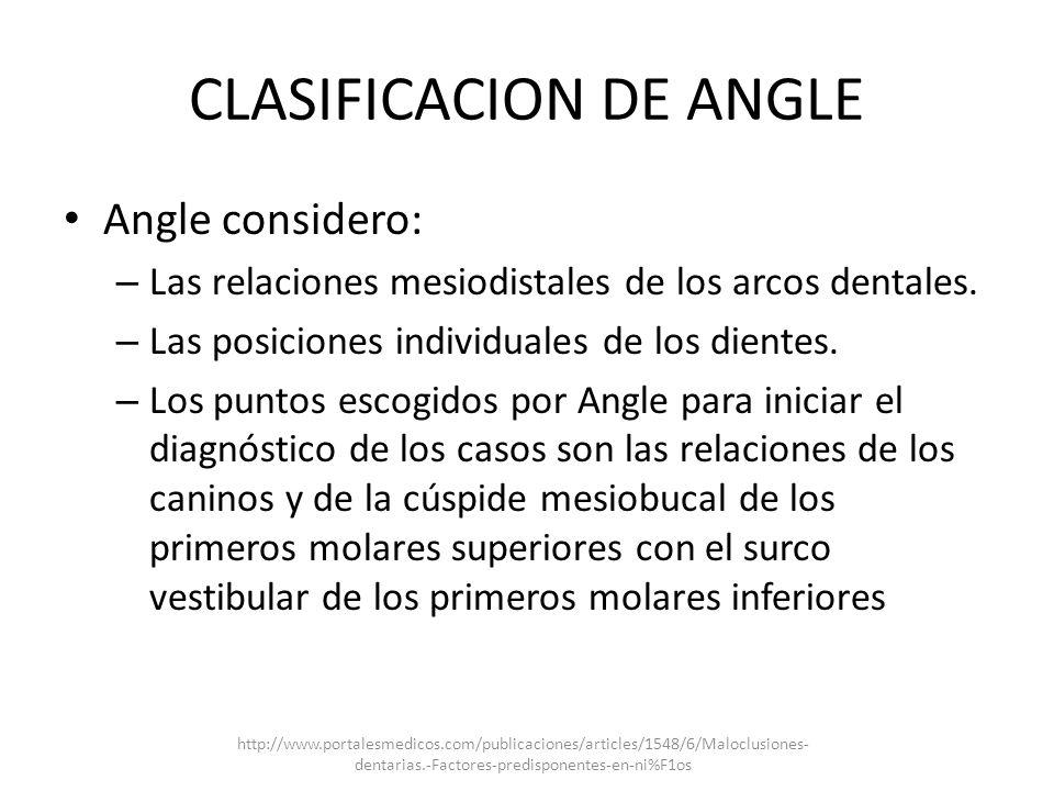 CLASIFICACION DE ANGLE
