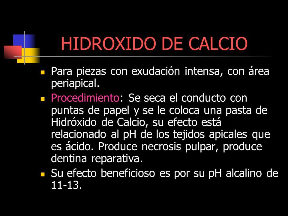 HIDROXIDO DE CALCIOPara piezas con exudación intensa, con área periapical.