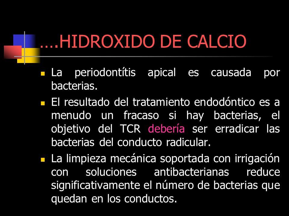 ….HIDROXIDO DE CALCIO La periodontítis apical es causada por bacterias.