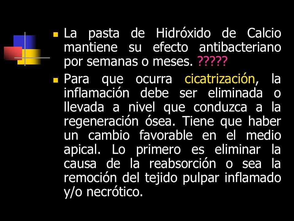 La pasta de Hidróxido de Calcio mantiene su efecto antibacteriano por semanas o meses.