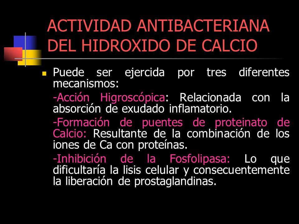 ACTIVIDAD ANTIBACTERIANA DEL HIDROXIDO DE CALCIO
