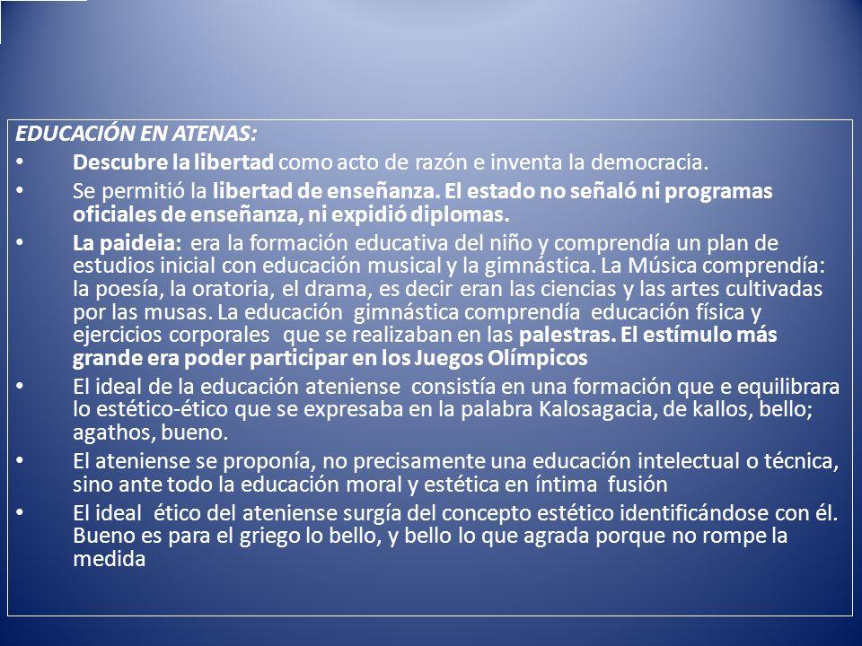 EDUCACIÓN EN ATENAS: Descubre la libertad como acto de razón e inventa la democracia.