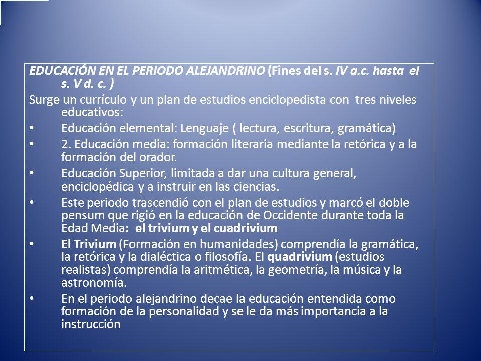 EDUCACIÓN EN EL PERIODO ALEJANDRINO (Fines del s. IV a. c. hasta el s