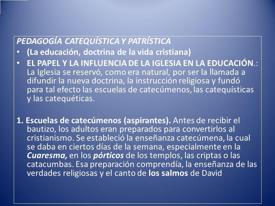 PEDAGOGÍA CATEQUÍSTICA Y PATRÍSTICA