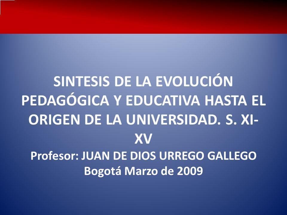 SINTESIS DE LA EVOLUCIÓN PEDAGÓGICA Y EDUCATIVA HASTA EL ORIGEN DE LA UNIVERSIDAD.