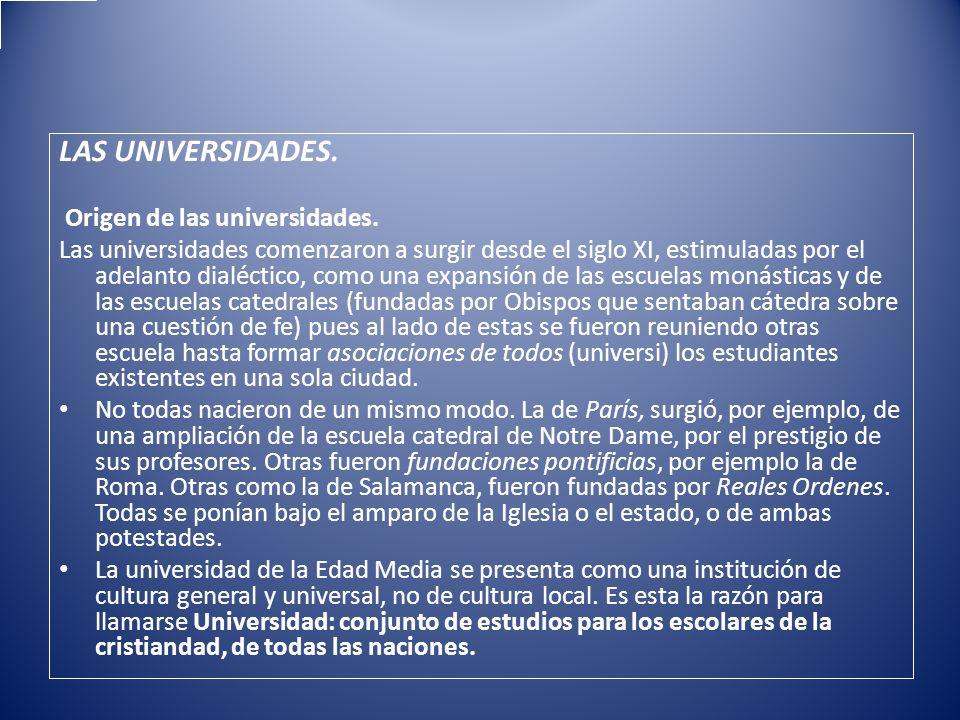 LAS UNIVERSIDADES. Origen de las universidades.